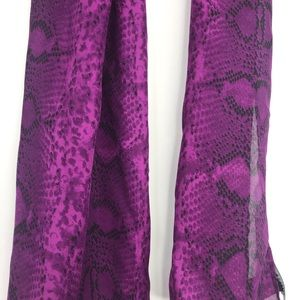 White House Black Market Purple Snake Silk Scarf
